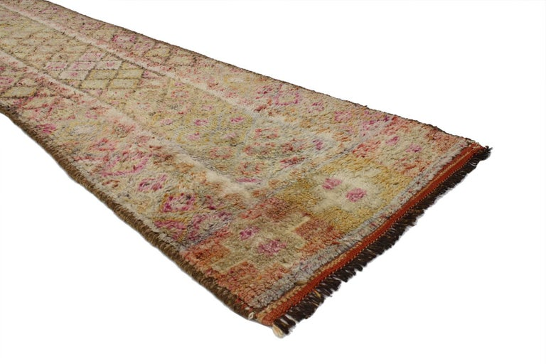 Hand-Knotted Vintage Turkish Oushak Runner, Extra-Long and Narrow Hallway Runner For Sale