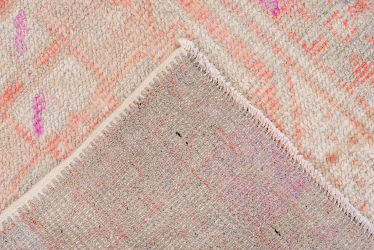 Hand-Knotted Vintage Turkish Oushak Scatter Rug, Coral and Ivory Field, Pink Accents For Sale