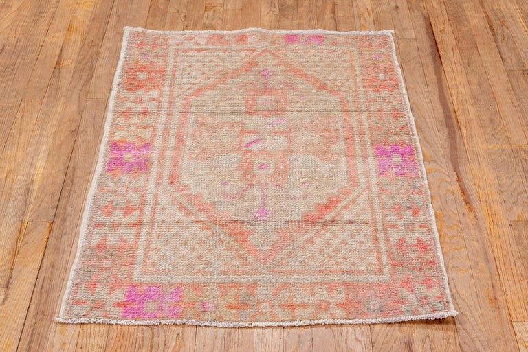 20th Century Vintage Turkish Oushak Scatter Rug, Coral and Ivory Field, Pink Accents For Sale