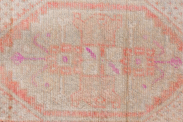 Wool Vintage Turkish Oushak Scatter Rug, Coral and Ivory Field, Pink Accents For Sale