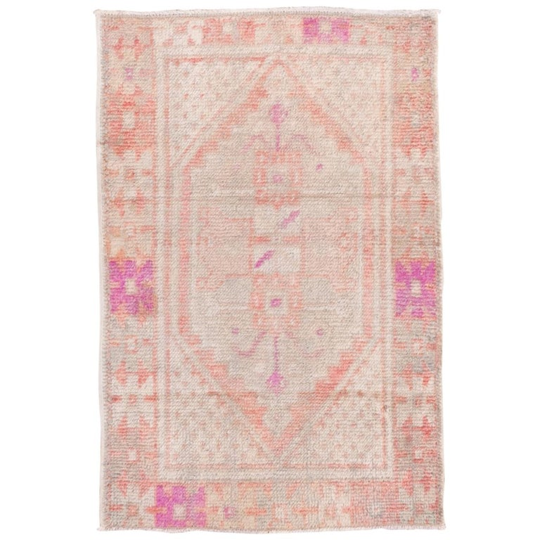 Vintage Turkish Oushak Scatter Rug, Coral and Ivory Field, Pink Accents For Sale
