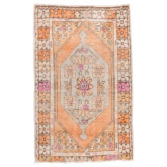 Vintage Turkish Oushak Scatter Rug, Orange Field, Pastel Colors