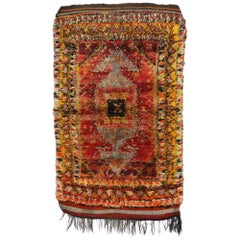 Vintage Turkish Oushak Shaggy Rug with Nomadic Tribal Style