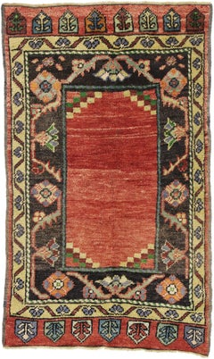 Vintage Turkish Oushak Small Area Rug with Art Deco Style