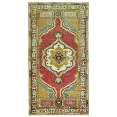 Vintage Turkish Oushak Small Rug in Red and Green