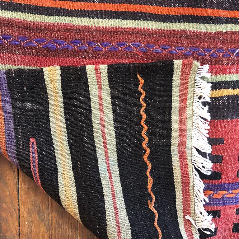 Bohemian Vintage Turkish Oushak Striped Rug in Pink Orange Black Green and Yellow For Sale