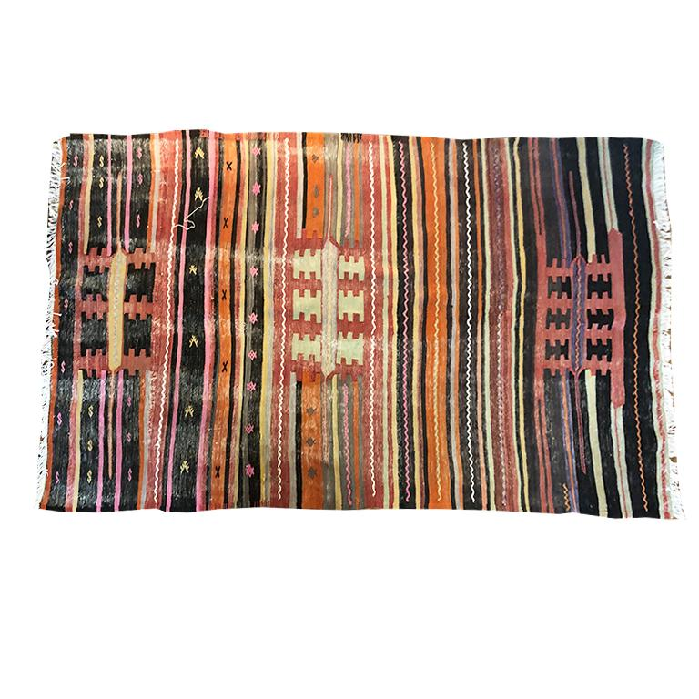 Vintage Turkish Oushak Striped Rug in Pink Orange Black Green and Yellow In Good Condition For Sale In Oklahoma City, OK