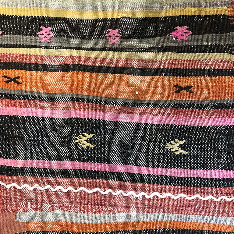 20th Century Vintage Turkish Oushak Striped Rug in Pink Orange Black Green and Yellow For Sale