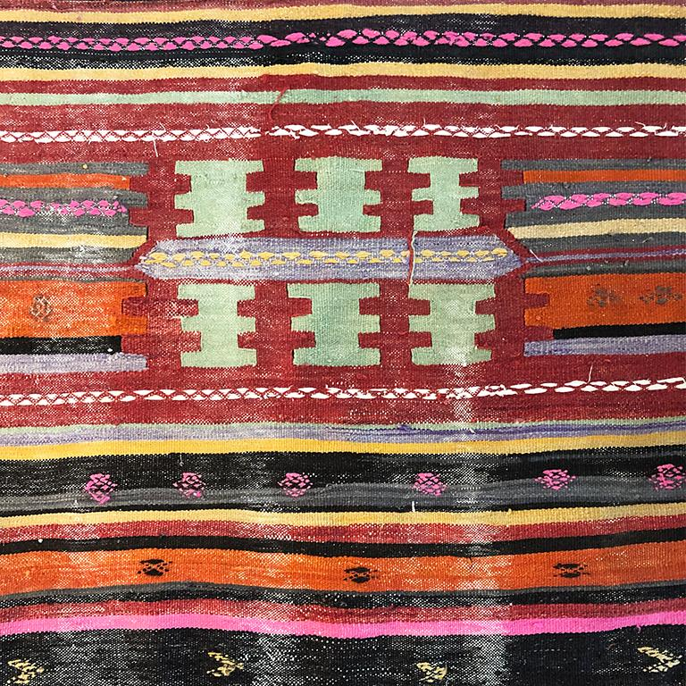 Wool Vintage Turkish Oushak Striped Rug in Pink Orange Black Green and Yellow For Sale