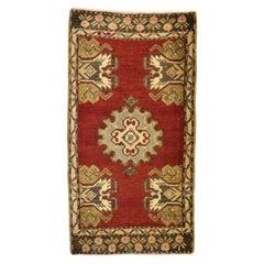 Vintage Turkish Oushak Yastik Scatter Rug, Small Accent Rug