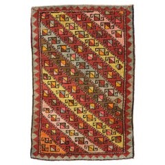 Vintage Turkish Oushak Yastik Scatter Rug, Small Accent Rug with Art Deco Style