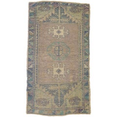 Vintage Turkish Oushak Yastik Scatter Rug, Small Accent Rug with Pastel Hues