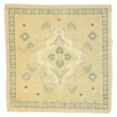 Vintage Turkish Oushak Yastik Scatter Rug with Neoclassical Cottage Style