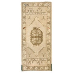 Vintage Turkish Oushak Yastik Scatter Rug with Shaker Style and Warm Colors