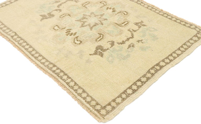 53015 vintage Turkish Oushak Yastik scatter rug with Swedish Farmhouse Cottage style, small accent rug 01'10 x 02'07. Effortless beauty and romantic connotations meet soft, bespoke vibes with a Swedish farmhouse cottage style in this hand knotted
