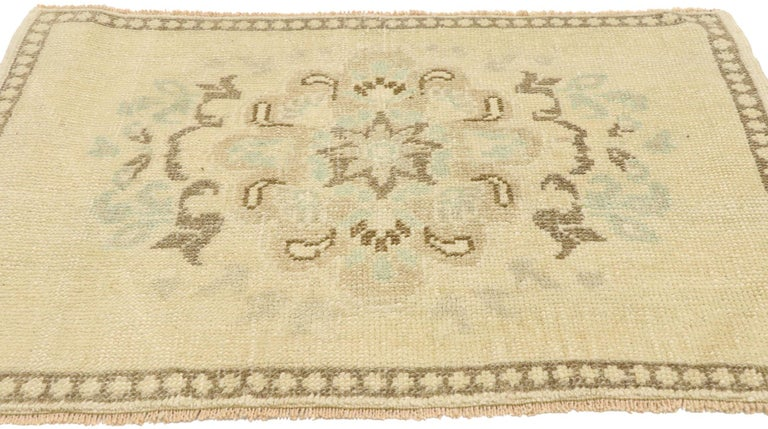 Hand-Knotted Vintage Turkish Oushak Yastik Scatter Rug with Swedish Farmhouse Cottage Style For Sale