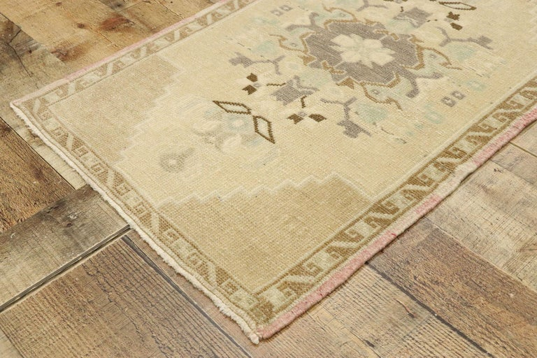 Wool Vintage Turkish Oushak Yastik Scatter Rug with Swedish Farmhouse Cottage Style For Sale
