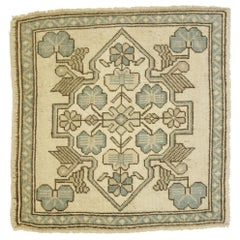 Vintage Turkish Oushak Yastik Scatter Rug with Swedish Farmhouse Cottage Style