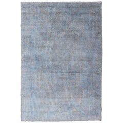 Vintage Turkish Over-Dyed Rug with Blue with Faded Brown