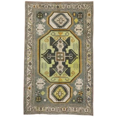 Vintage Turkish Painted Oushak Area Rug with Contemporary Tribal Style