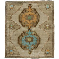 Vintage Turkish Painted Oushak Kars Area Rug with Contemporary Tribal Style