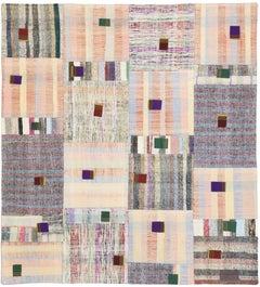 Vintage Turkish Pala Patchwork Kilim Rug, Flat-Weave Rug, Square Rug
