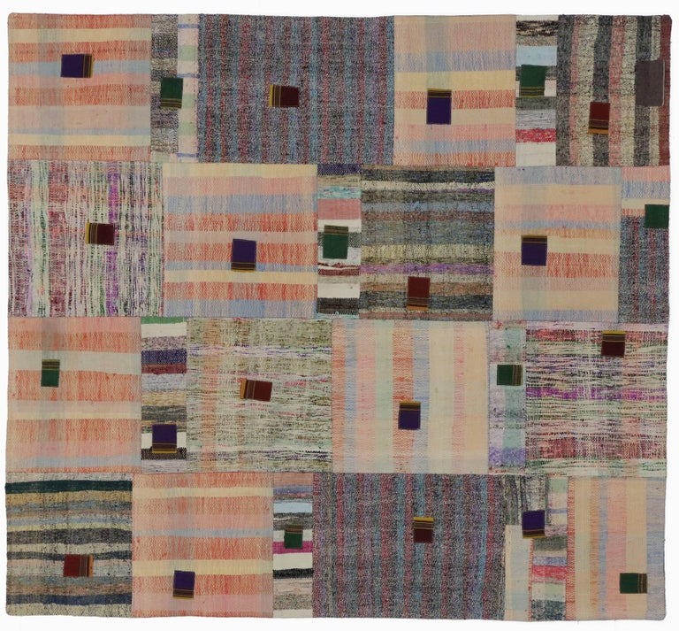 Vintage Turkish Flat Weave Rug: Vintage Turkish Pala Patchwork Kilim Rug, Flat-Weave Rug