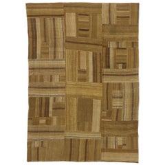 Vintage Turkish Patchwork Kilim Rug with Midcentury Style, Flat-Weave Rug