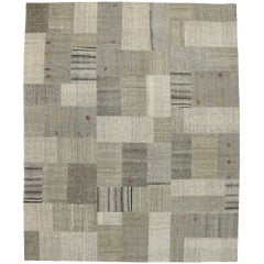 Vintage Turkish Patchwork Kilim Rug with Scandinavian Modern Style
