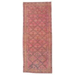 Vintage Turkish Pink Sivas Wide Runner Rug, All-Over Field