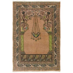 Vintage Turkish Prayer Rug Depicting a Chandelier, Couple of Columns and Flowers