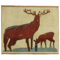 Vintage Turkish Reindeer Animal Square Throw Rug