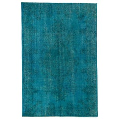 6x9.4 Ft Vintage Turkish Rug, Medallion Design Over-Dyed in Turquoise Blue Color