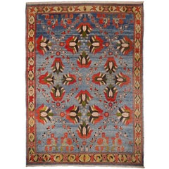 Vintage Turkish Rug Light Blue Azeri Heriz Carpet with Lotus and Tulips in Red