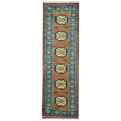 Vintage Turkish Rug, Handwoven Oriental Rust Wool Carpet Runner Rug