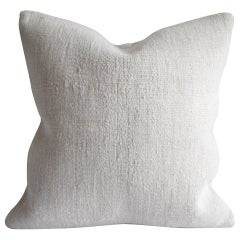 Vintage Turkish Rug Hemp Pillow Cover in Off-White