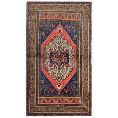 Vintage Turkish Rug Taspinar Carpet Rug Hand Knotted Blue and Orange Home Decor