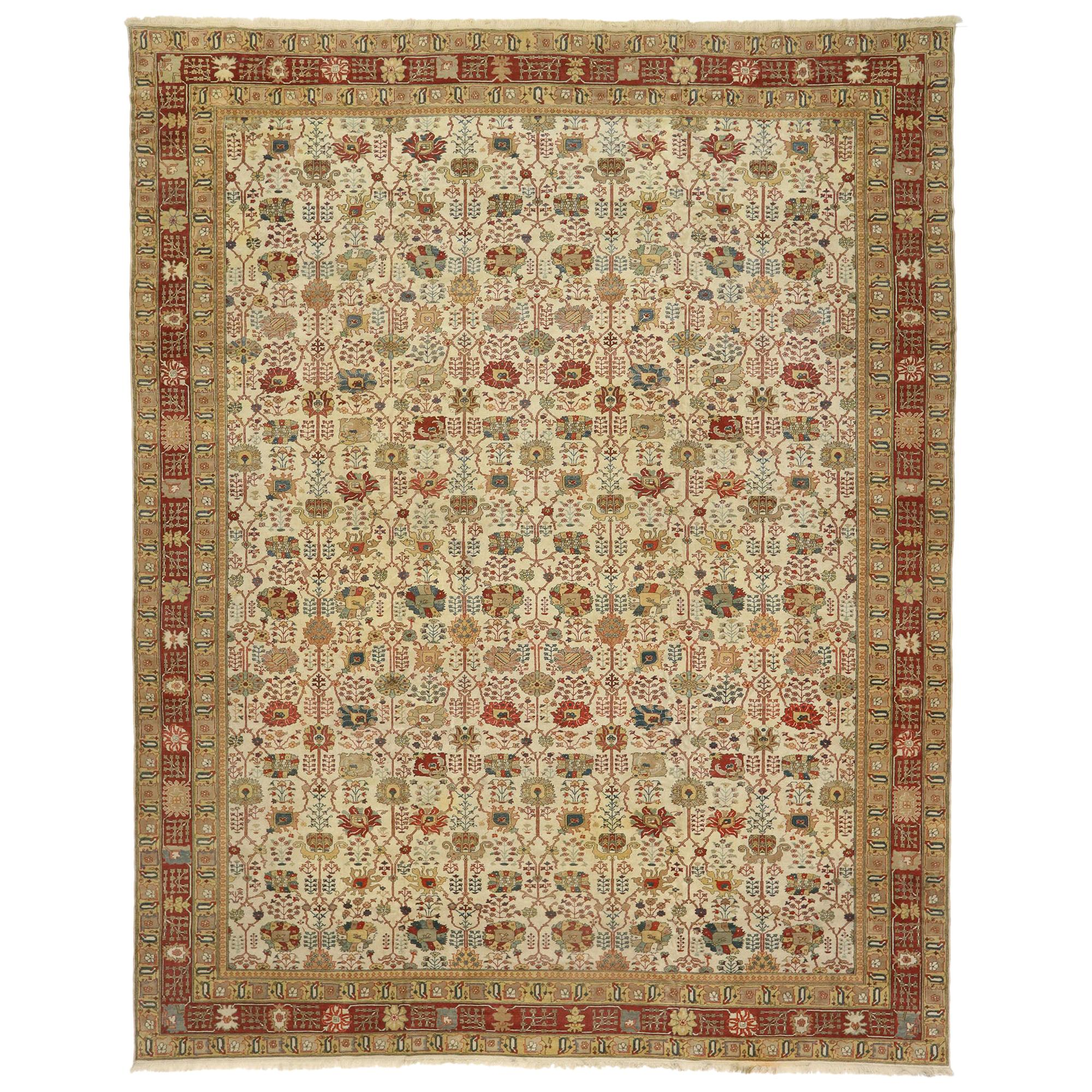 Vintage Turkish Rug with Arts & Crafts Style Inspired by William Morris