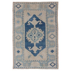 Vintage Turkish Rug with Central Medallion in Gray Blue Medallion and Sky Blue