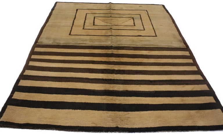 Hand-Knotted Vintage Turkish Rug with Mid-Century Modern Style For Sale