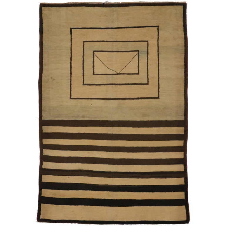Vintage Turkish Rug with Mid-Century Modern Style For Sale