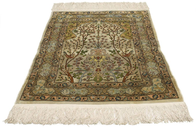 77026 Vintage Turkish Silk Hereke Prayer Rug With Tree Of Life Design Give The