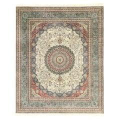 Vintage Turkish Silk Hereke Rug with Arabesque Art Nouveau Rococo Style