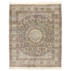 Vintage Turkish Silk Hereke Rug with Art Nouveau Rococo Style