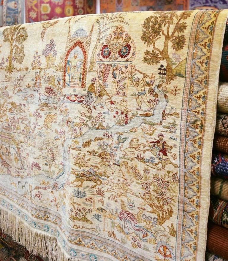 Vintage Turkish Silk Hereke Rug With Hunting Scene Silk