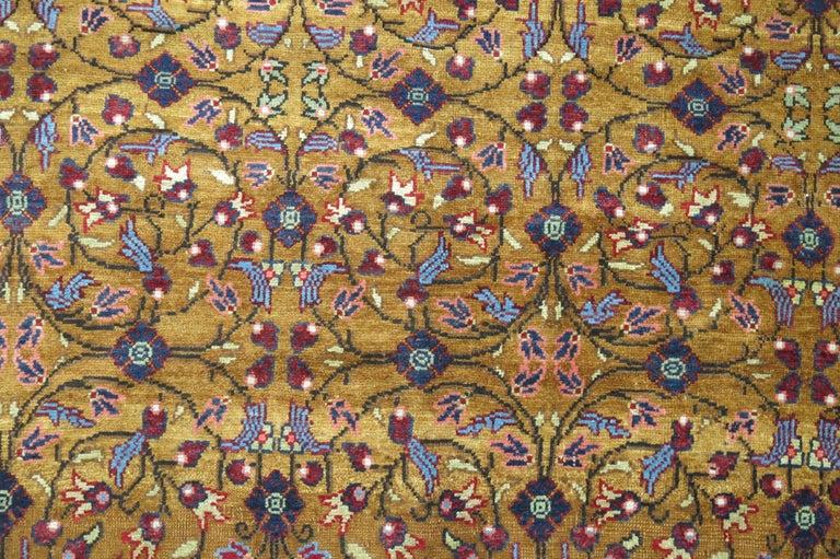 Beaux Arts Mocha Brown Eggplant Vintage Turkish Room Size Rug For Sale