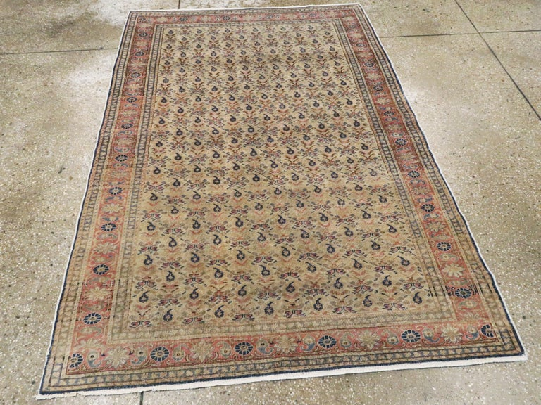 Hand-Knotted Vintage Turkish Sivas Accent Rug For Sale