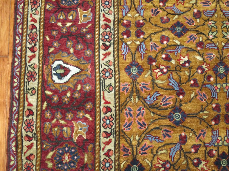 Mocha Brown Eggplant Vintage Turkish Room Size Rug In Good Condition For Sale In New York, NY