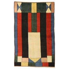Vintage Turkish Sivas Rug with De Stijl Style Inspired by Theo van Doesburg