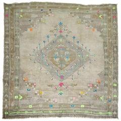 Vintage Turkish Square Kars Anatolian Rug